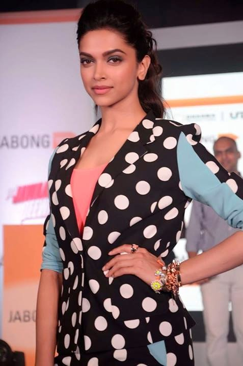 Deepika Padukone in Polka-dot Dress at Jabong Event