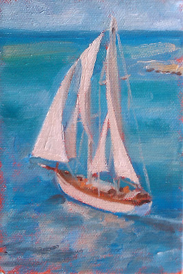 oil painting Sail cruise