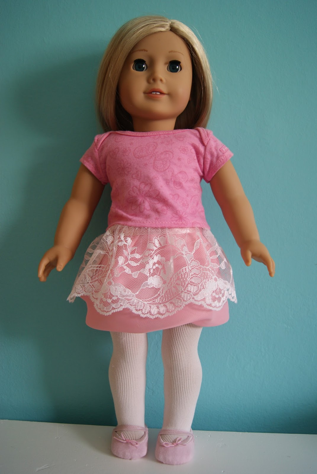 lace skirt on top of pink chiffon bubble skirt for 18-inch doll by nest full of eggs