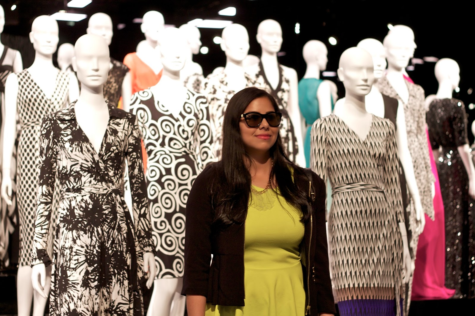 DVF Mannequins as background, San Diego blogger