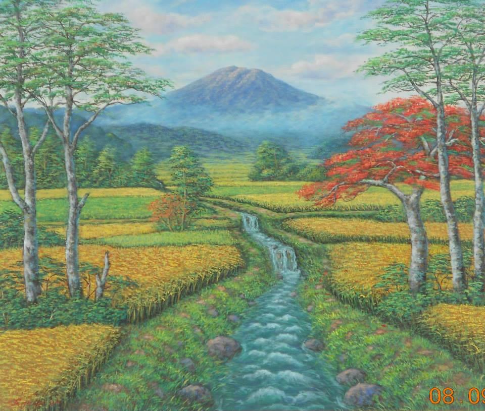 Gambar Lukisan Pemandangan Alam Terindah Sukasaya Sungai