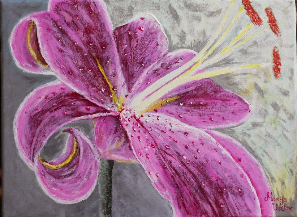 painting, acrylic painting on canvas, flower lily painting on canvas, pink flower painting