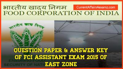 FCI Assistant Question Paper 2015