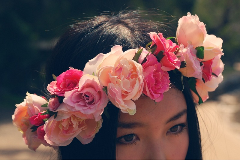 Personal style, fashion, floral crown, Valentines Day, pink dress, Etsy, floral garland