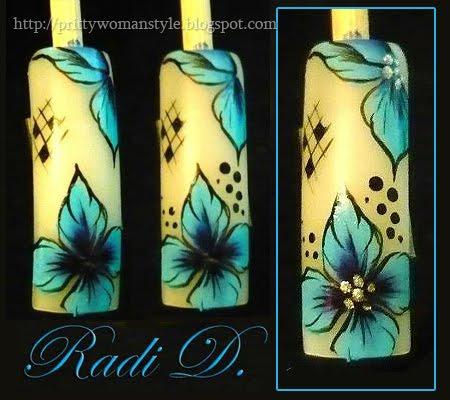Дизайн на нокти Сини цветя - стъпка 7,8,9