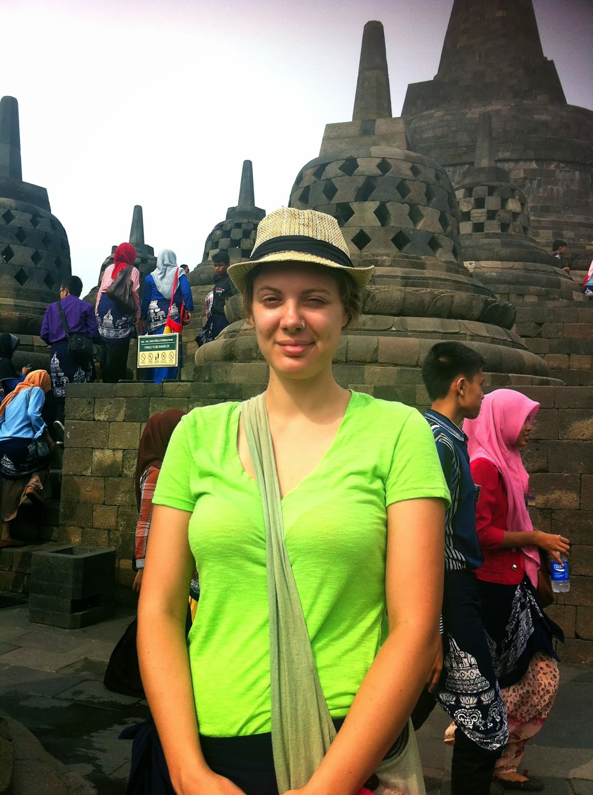 Bronwyn at Borodubur temple in Java, Indonesia