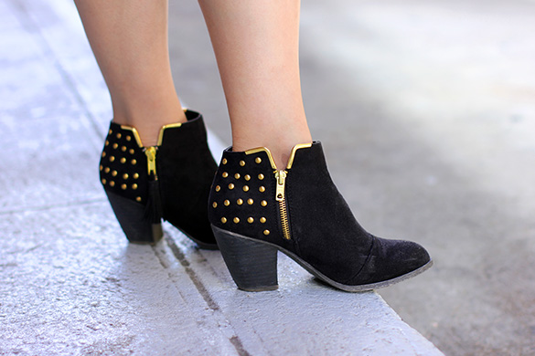 Zara Gold Studded Black Booties