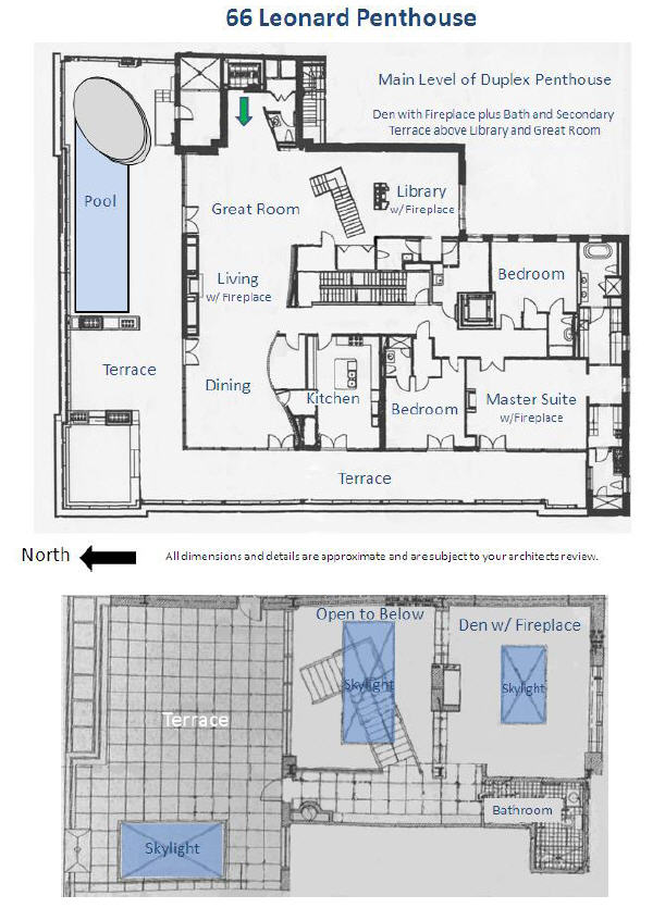 Floor plan of 66 Leonard Street penthouse