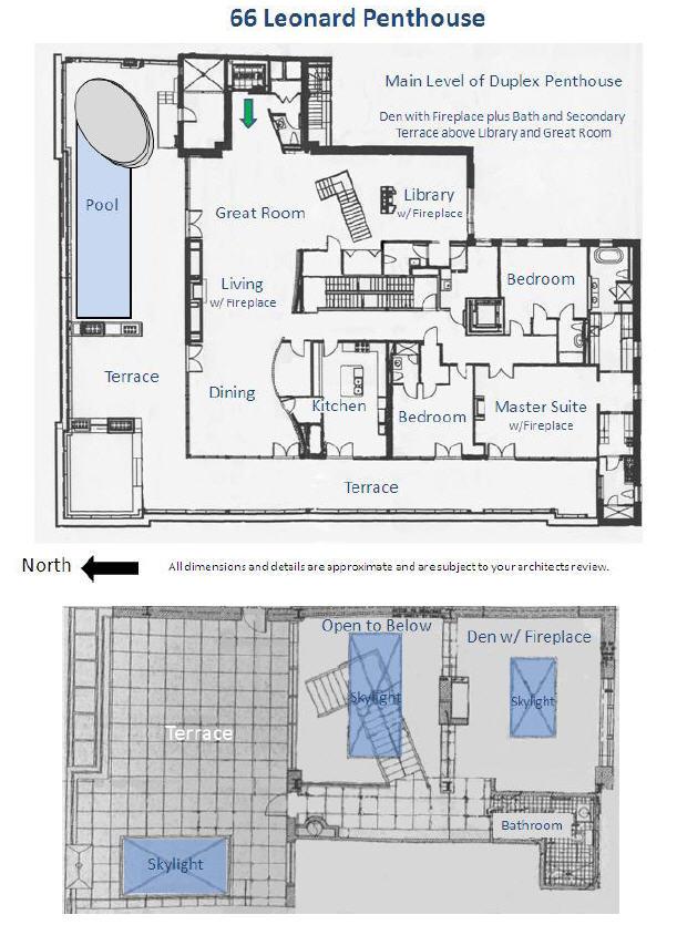Floor plan of 66 Leonard Street penthouse