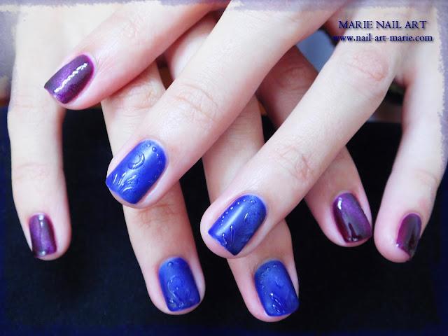 nail art avec semi-permanent effet oeil de chat6