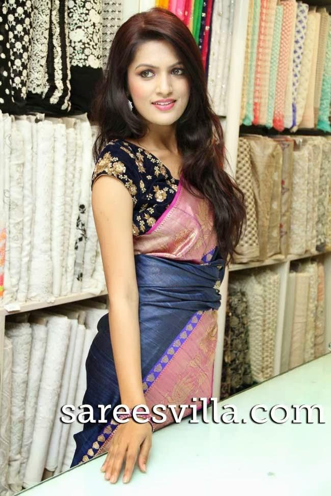 Model in hand loom silk saree