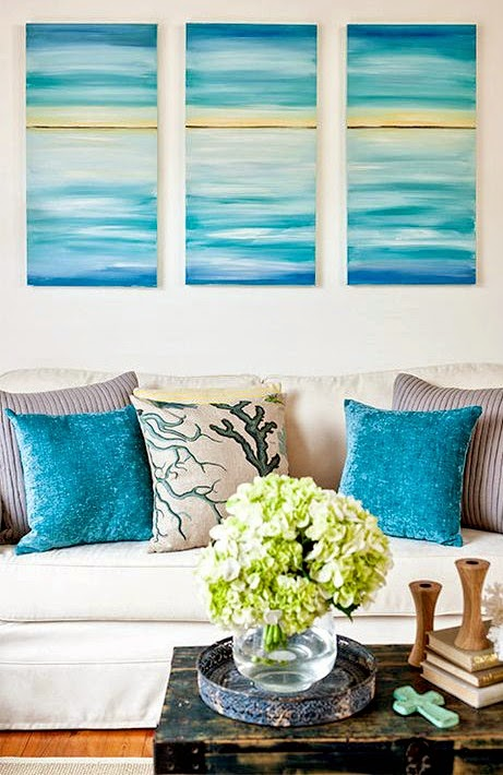 Easy Paint Ideas To Bring Coastal Colors To Your Living Room While Leaving Walls White