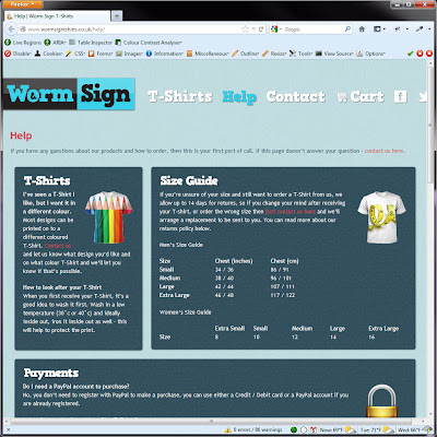 Screen shot of http://www.wormsigntshirts.co.uk/help/.