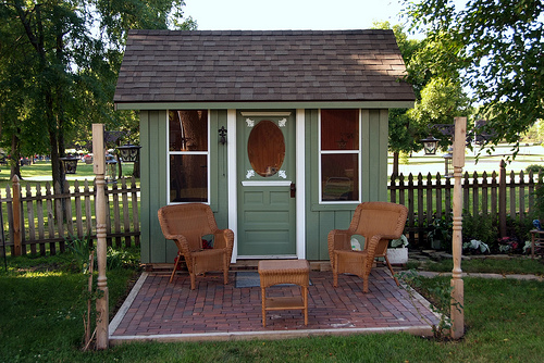 ... TINY GREEN CABIN- A backyard shed/office/and playhouse- you choose