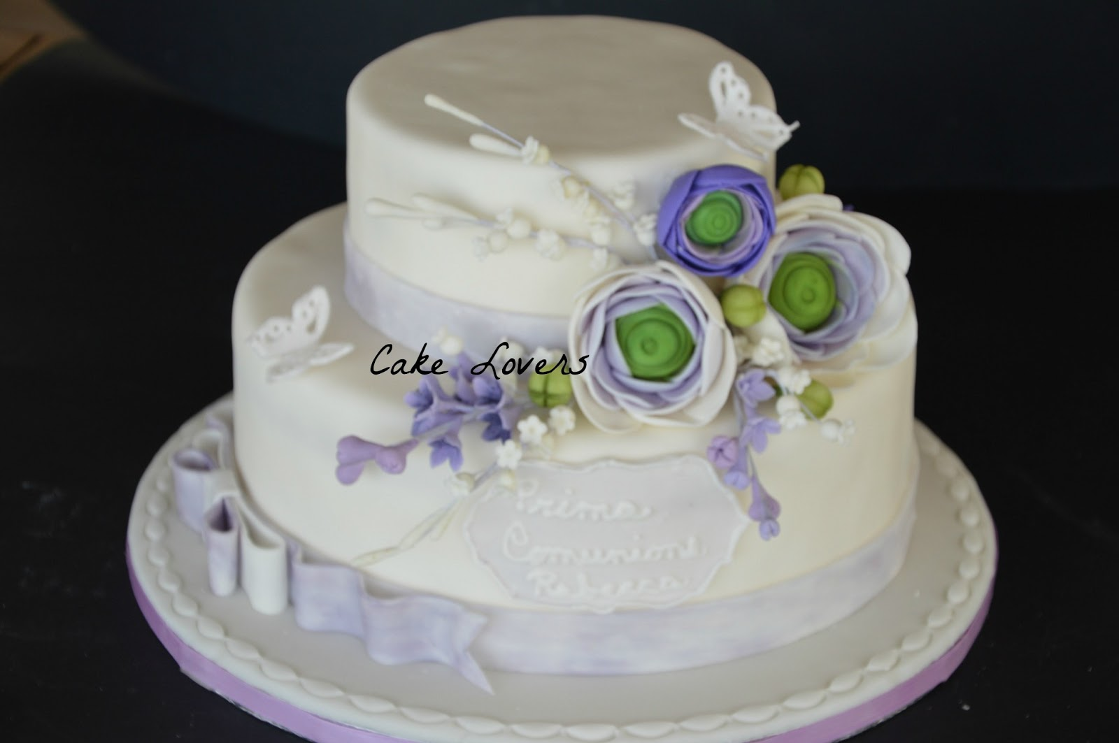 Cake lovers prima comunione di rebecca for Torte di compleanno a due piani semplici