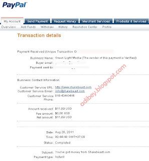 Pembayaran dari ShareBeast