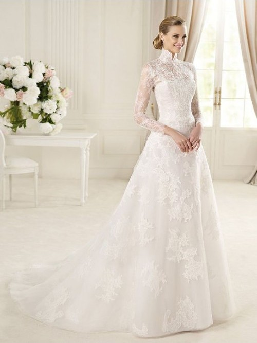 Bride in dream inspiration for elegant wedding dresses for High collared wedding dress