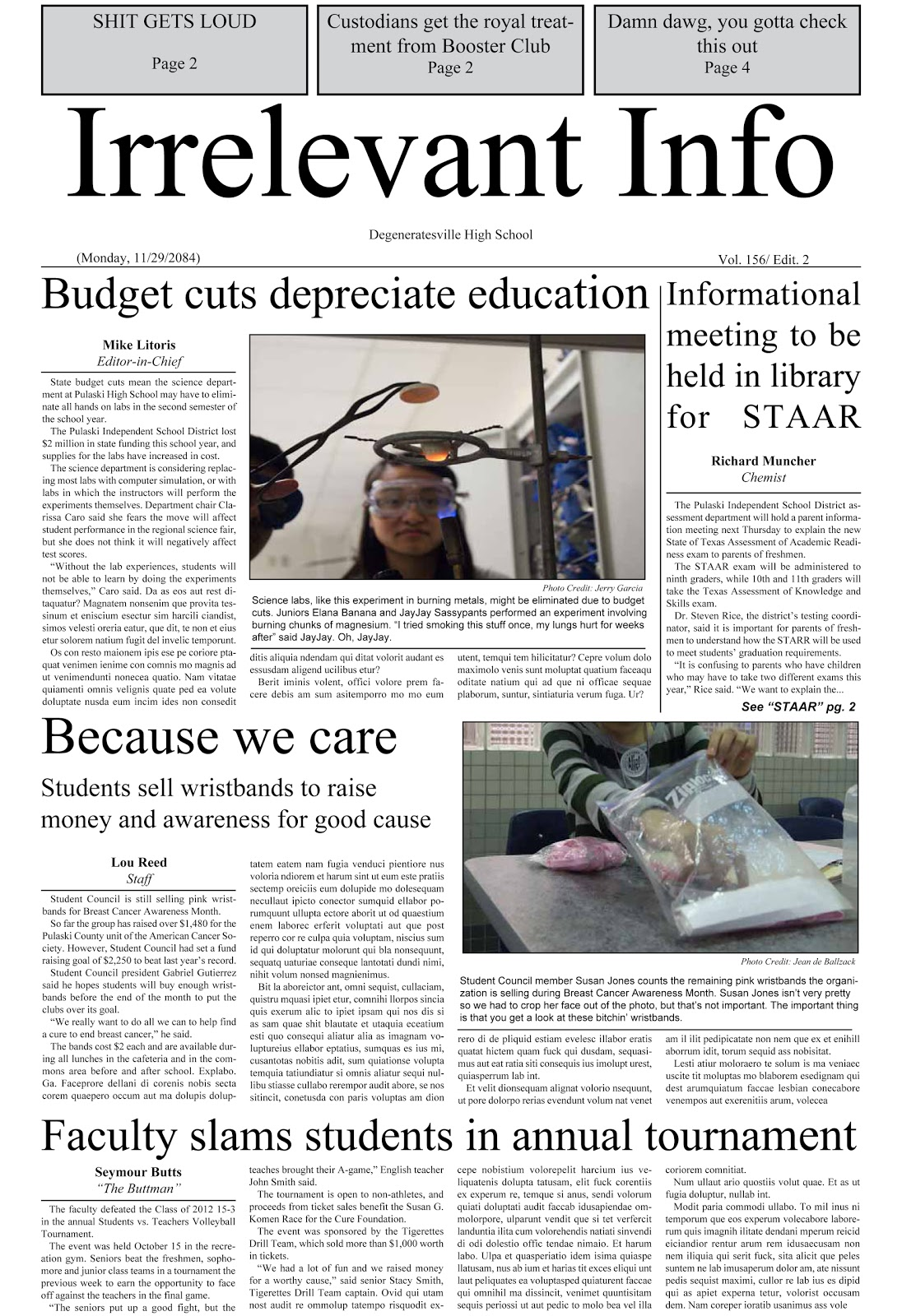 Sean: Newspaper front & inside page