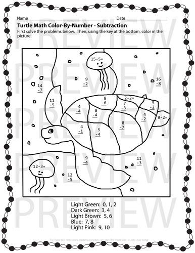 The Puzzle Den Turtle Puzzles Preview Coloring Pages With Math Problems