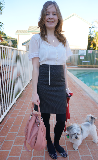 away from blue office outfit sheer blouse pencil skirt pink hobo bag