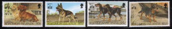 1994年ソロモン諸島 ダックスフンド ジャーマン・シェパード ドーベルマン オーストラリアン・キャトルドッグの切手
