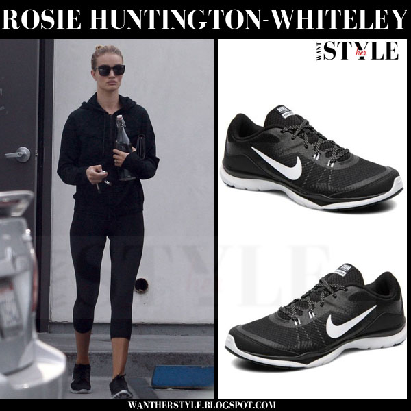 Rosie Huntington-Whiteley in black Nike flex 5 sneakers what she wore