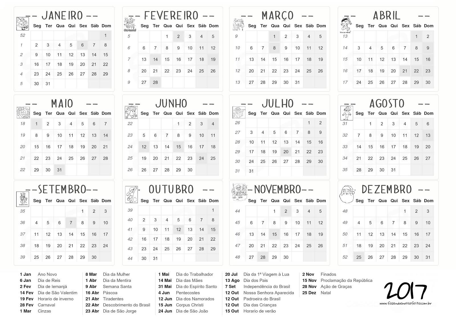 Calend rio 2017 imprimir e baixar s escola - Calendario 2017 para imprimir por meses ...