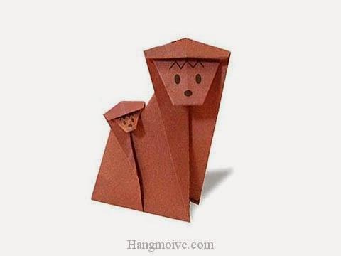 Cách gấp, xếp con khỉ mẹ cõng con bằng giấy origami - Video hướng dẫn xếp hình