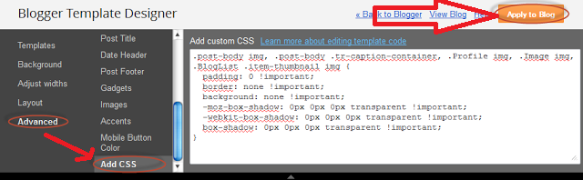 Remove Blogger Images Shadow and Border