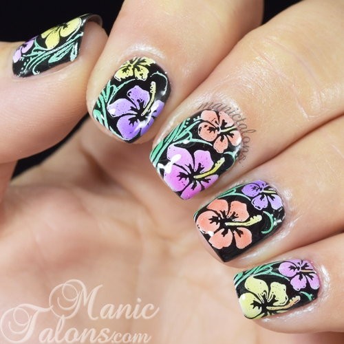 Leadlight Flowers Nail Art with BMC Mosaic Glass Gel Polish