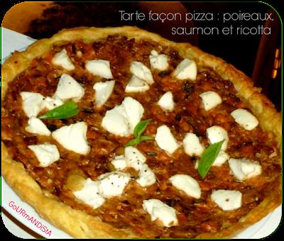 image Tarte façon pizza : poireaux, basilic, saumon et ricotta