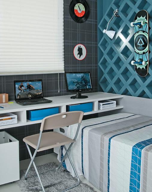 decoracao de interiores quarto solteiro:La Casa – Blog de Decoração: Quarto para um jovem solteiro.