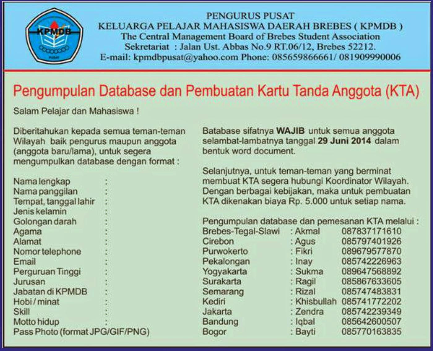 PENDATAAN ANGGOTA KPMDB