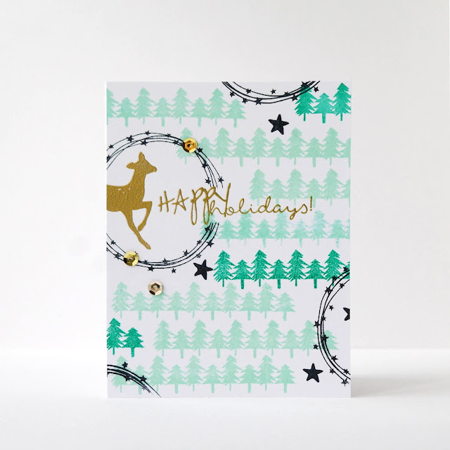 Christmas card with fir trees @matyushevskaya #cardmaking