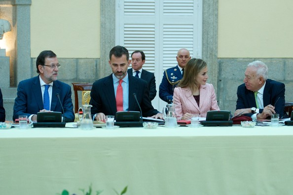 King Felipe VI of Spain and Queen Letizia of Spain attend the Cervantes Institute Annual Meeting at tthe El Pardo Palace in Madrid, Spain