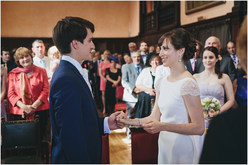 Couple saying wedding vows at Oxford Town Hall