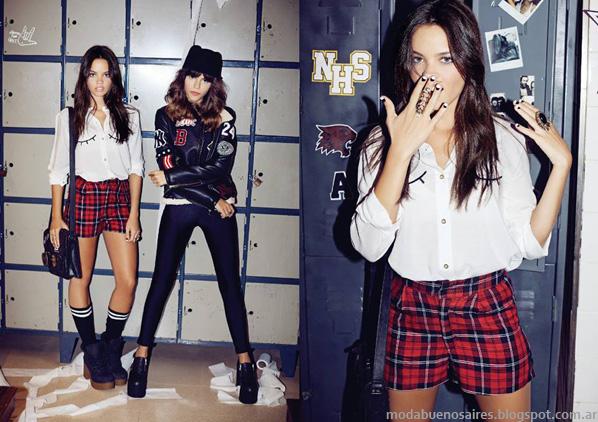Moda otoño invierno 2014. 47 Street otoño invierno 2014 shorts de moda marcas argentinas populares.