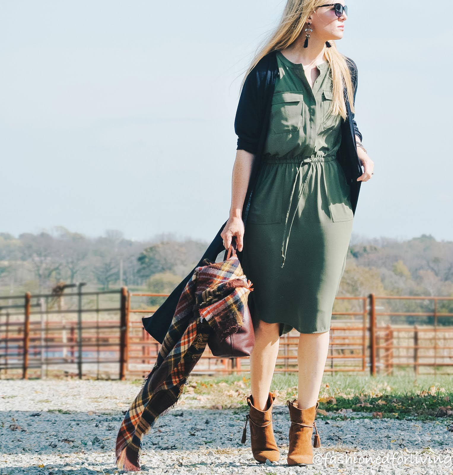 Fashioned For Living: fall dress outfit. olive dress with duster ...
