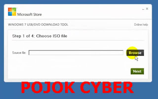 "Tampilan jendela utama ""Windows 7 USB/DVD Download Tool"""