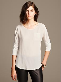 banana republic mixed media drop shoulder top