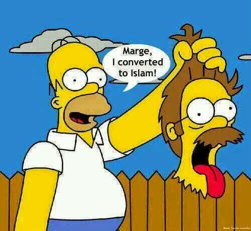 Funny Homer Simpson Islamic Conversion Joke Cartoon Picture