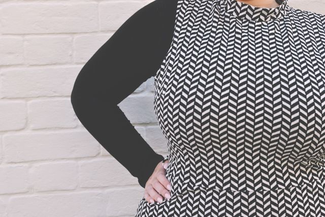 High-collared sixties inspired dress