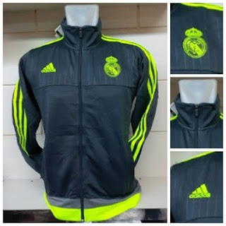 gambar desain terbaru jersey dan jaket training real madrid foto photo kamera Jaket training Real Madrid terbaru warna hitam list hijau musim 2015/2016 di enkosa sport toko online terpercaya lokasi di jakarta pusat tanah abang