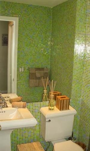 Mundo de Cissa Banheiros coloridos -> Banheiro Com Pastilha De Vidro Verde Agua