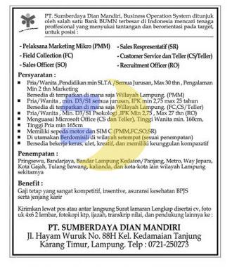 Lowongan Kerja Lampung, Minggu 26 April 2015 di perusahaan PT. Sumberdaya Dian Mandiri