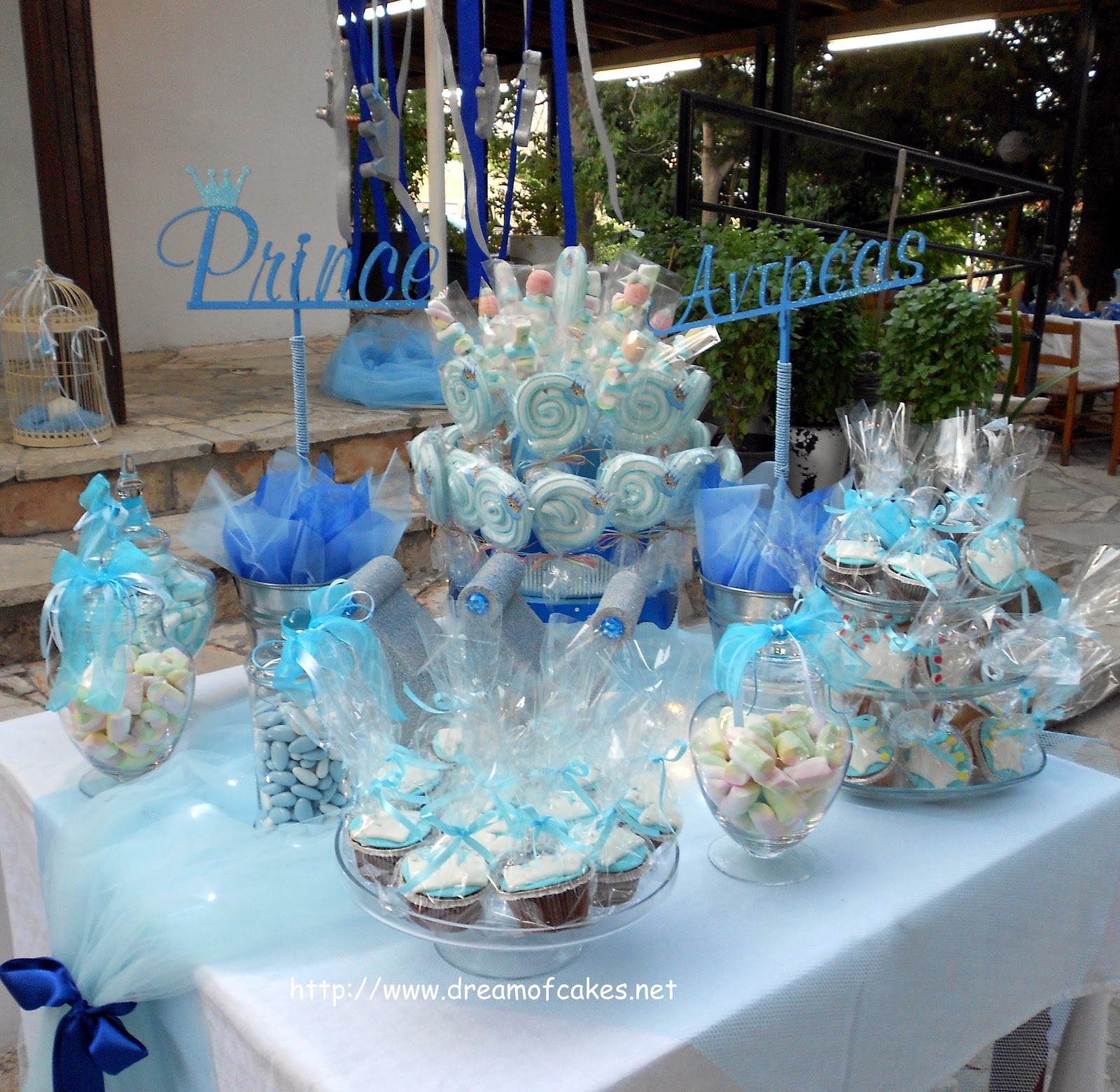 Dream of cakes little prince christening party theme - Baptism party decoration ideas ...