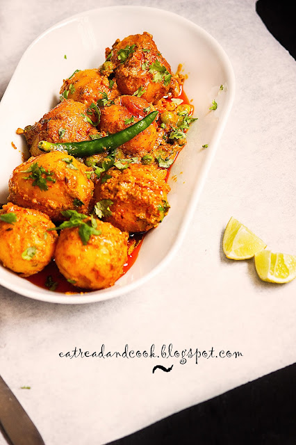 dum aloo recipe bengali style without onion and garlic with green peas