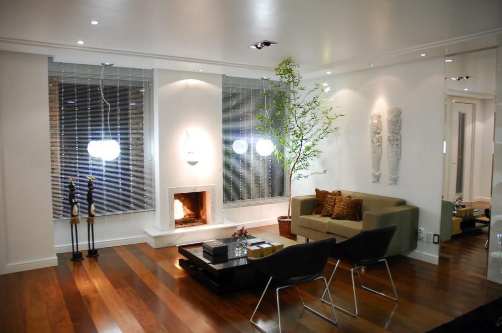 Decoracao De Sala Com Lareira E Tv ~ Meu Palácio de 64m² Sala com Lareira decorada