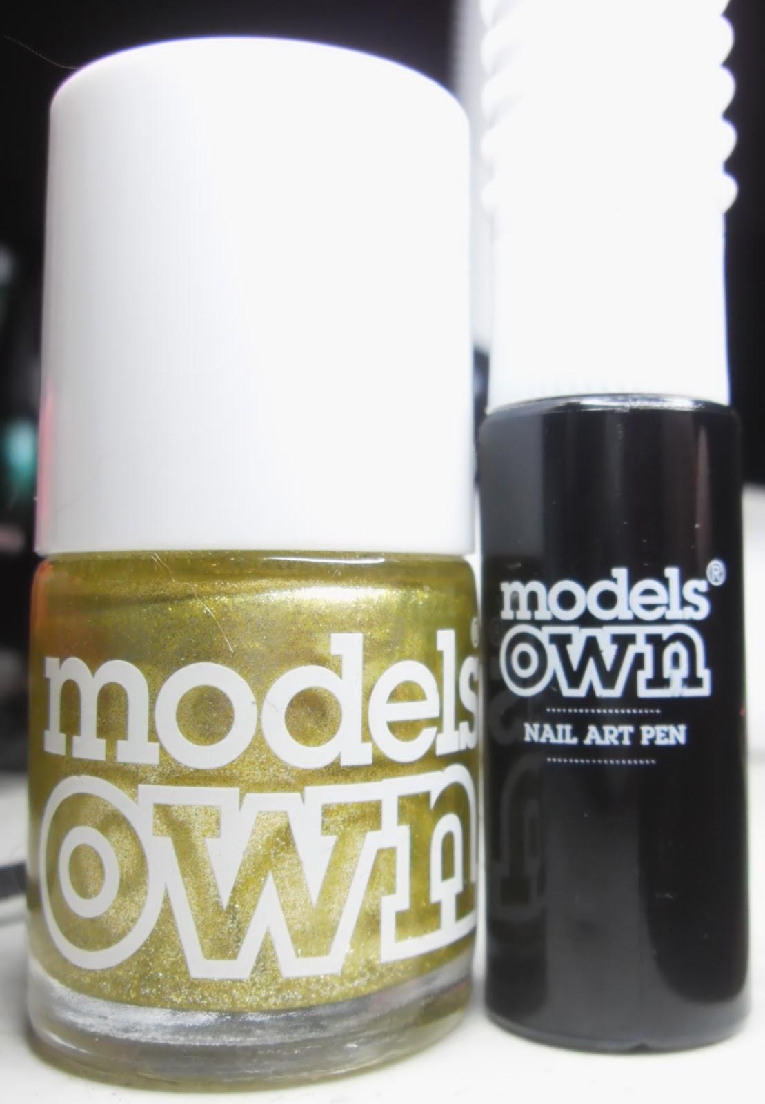 Specialgirl Nails Models Own Black Nail Art Pen And Gold Polish