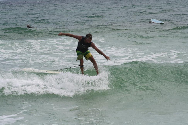 Kendall Roose hanging five at Pensacola Beach on Sunday May 13, 2012